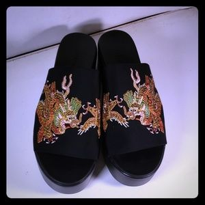 Bebe Black Stretchy Slides Size 9 Chinese Accent